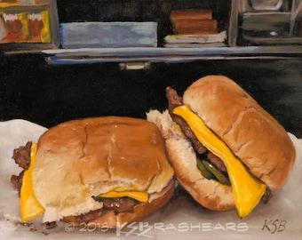 "Cheeseburgers - 6"" Sq Giclée Print"