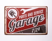 Vintage Tin Sign Replica Garage, Parts Service 7 24 Home Bar, Office, Game Room, TSC179