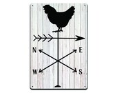 Chicken Weathervane Tin Sign, Funny Bathroom Home Décor Sign, Garage Sign, Man Cave Sign, 8-inch by 12-inch Sign Made from Aluminum TS550