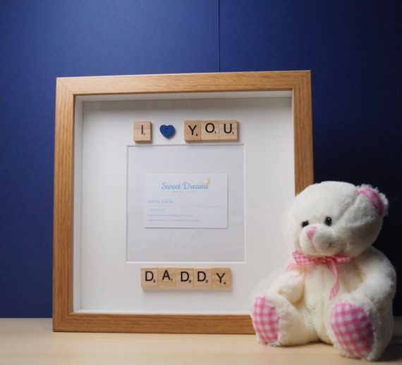 Daddy Scrabble Frame I Love You Daddy Photo Frame Fathers Etsy