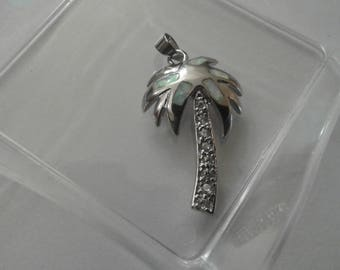 Finely Made Sterling Silver Palm Tree Pendant With Opal Inlay and Cubic Zirconias