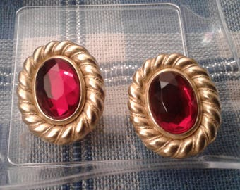 Carolee Ruby Glass and Goldtone Clip On Earrings, Signed