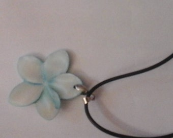 Pale Blue Dyed Mother of Pearl Pendant on Rubber Cord