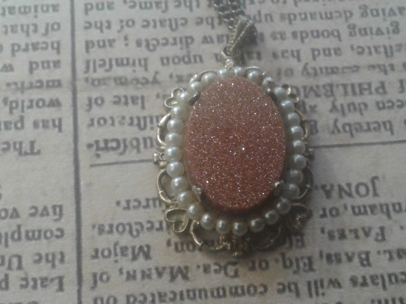 Goldstone and Faux Pearl Victorian Revival Pendant Necklace
