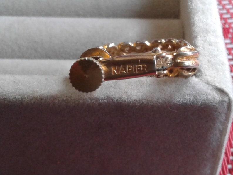 Signed Napier Goldtone Filigree Hoop Clip On Earrings