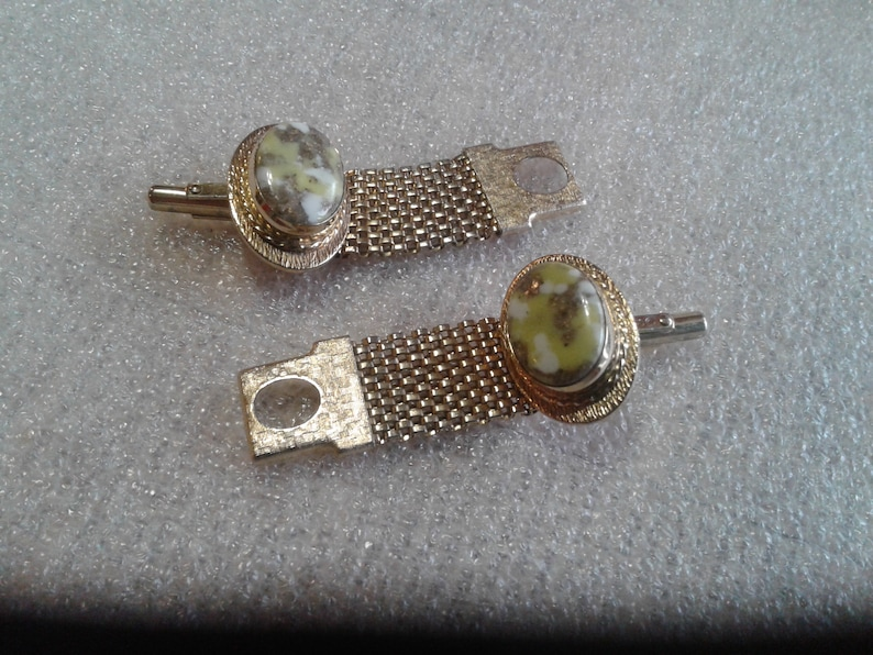 Destino Goldtone and Yellow White and Gold Confetti Lucite Wrap Around Cufflinks Signed