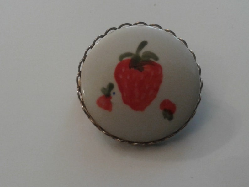 Ladies Set of Vintage Handpainted Ceramic Cuff Links and Lapel Pin in a Strawberry Pattern