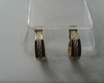 Greek Key Patterned Goldtone Clip On Hoops