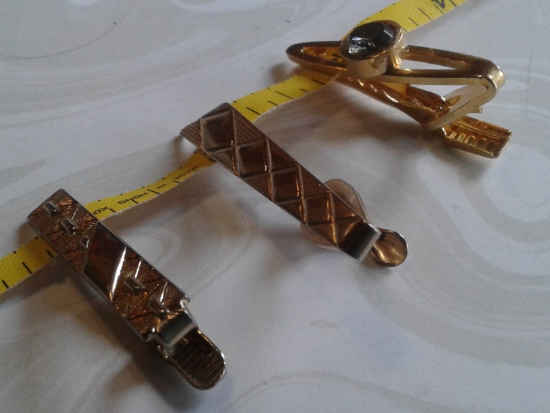 Midcentury Goldtone Small Geometric Tie Clips Your Choice