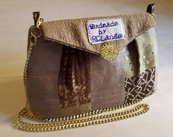Brown Zen Shoulder Bag With Gold Chain