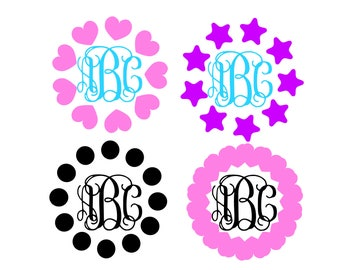 Circle Monogram Frame SVG Monogram Svg Heart frame Valentine vsg vector cut file cutting file for Cricut Explore Silhouette Cameo dxf files