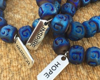 Blue Ceramic Beaded Bracelet
