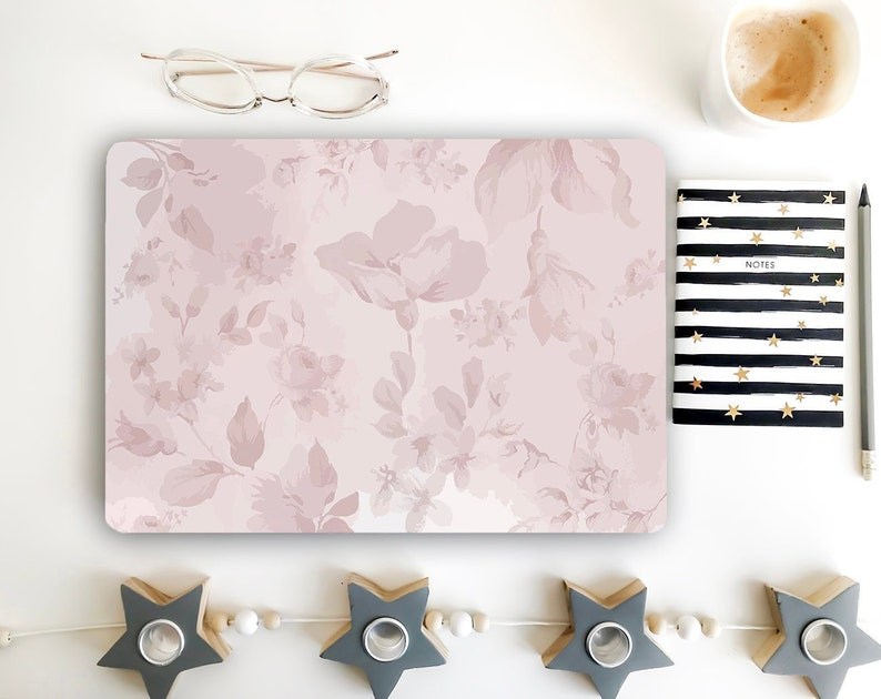 Pink Floral Laptop Skin Flowers Notebook Vinyl Decal Dell Hp Etsy