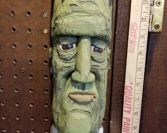 """Cottonwood Bark """"Frankenstein""""  Hand carved, painted and signed wall hanging Approx. 12 X 4 ins."""