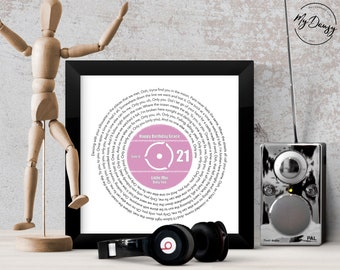 21st Birthday Music Gift Personalised Record Lyrics Print For Her Him Any Song Artist