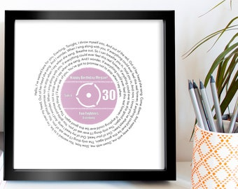 30th Birthday Music Gift For Her Him Personalised Record Lyrics Print Any Song Artist
