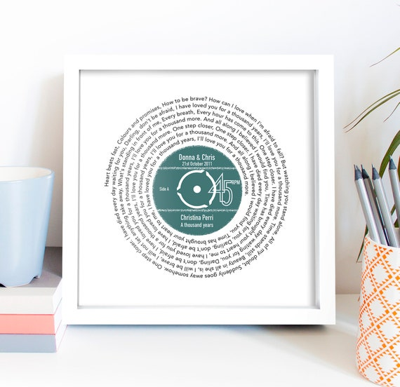 First Dance Gift / Personalised Record Lyrics Print  / 1st Wedding Anniversary Gift / Any Song / Any Artist by Etsy
