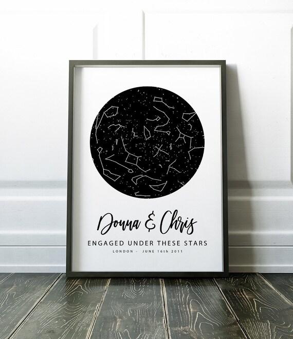 Engagement Gift, Custom Star Map, Night Sky, Constellation Map,  Personalised Print, Celestial Map, Sky Map, Framed / Unframed Keepsake