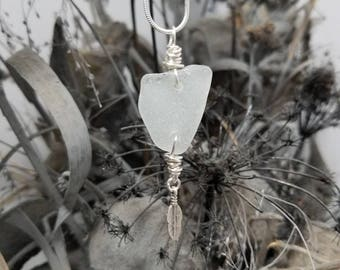 Beautiful white sea glass with silver wrap