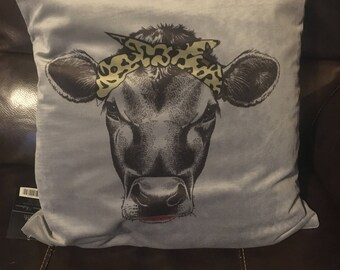 Cow with bandana throw pillow
