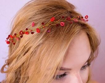 Custom Bridal hair vine bridesmaids gift, bridal hair circlet bridal shower gifts, wedding hair halo, bridal wreath and wedding headpiece