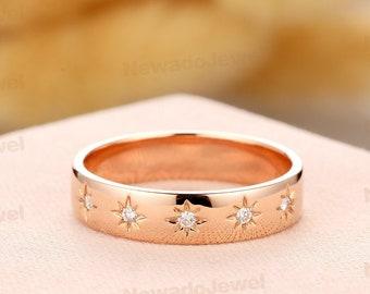 Women's Bridal Jewelry, 0.11ctw Round Diamond Ring, 14k Rose Gold Wedding Ring, Stackable Diamond Wedding Band, Conflict Free Diamond Ring