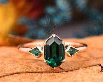 Art Deco Birthday Gift For Fiancée, Long Hexagon 5x9mm Emerald Engagement Ring, Antique Rose Gold Promise Ring, May Birthstone, Hexagon Ring