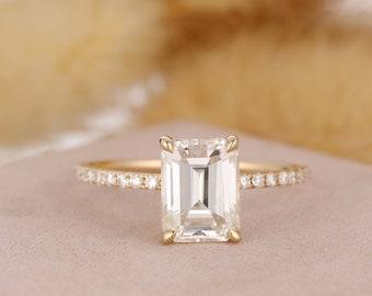 Splite Shank Ring Flower Shape Ring Orange Stone Ring Vintage Art Deco Moissanite Solitaire Ring Natural Fire Opal Wedding Bridal Ring