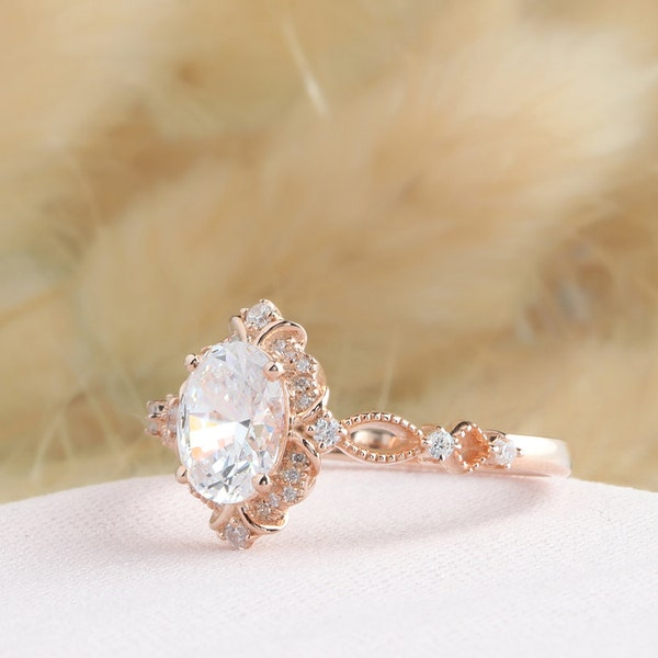 Halo Rose Gold Ring Oval Cut 6x8mm Moissanite Ring Vintage image 1