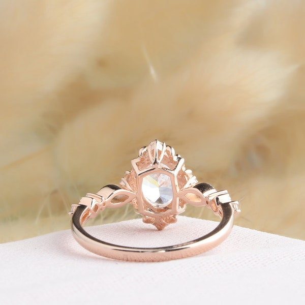 Halo Rose Gold Ring Oval Cut 6x8mm Moissanite Ring Vintage image 2