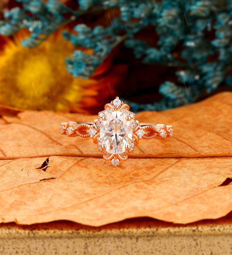 Milgrain Art Deco Engagement Ring 6x8mm Oval Moissanite image 0