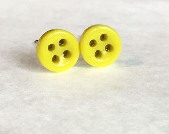 Yellow button earrings