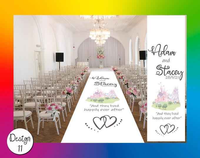 Custom Made Bespoke Church Aisle Runner Fairytale Disney Style Personalised Custom Fabric Wedding Ceremony Church Aisle Runner