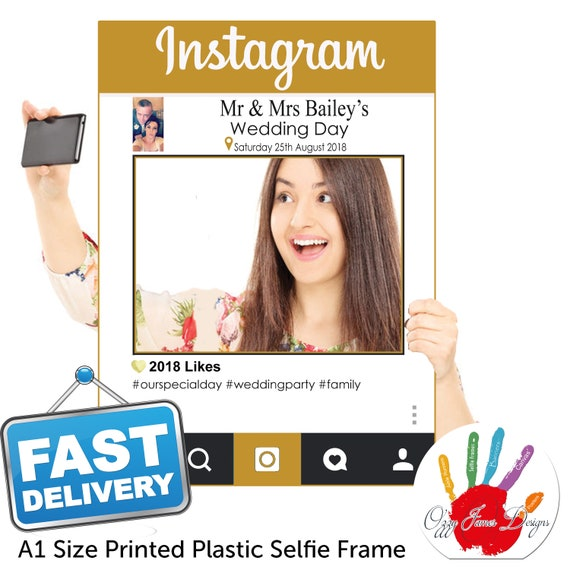A1 Personalised Gold Instagram Style Plastic Selfie Frame Etsy