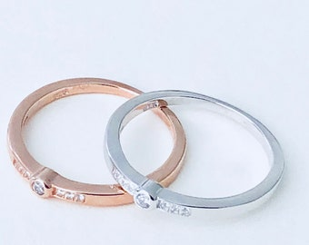18K Rose Gold Plated over Silver Stackable Rings