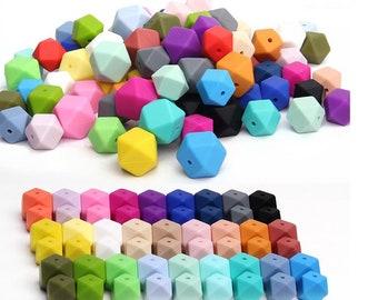 20pcs Hexagon 14mm Teething Silicone Beads Bpa Free