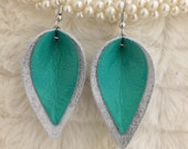 Marble White With Sea Green Leather Overlay Pinched Teardrop Earrings