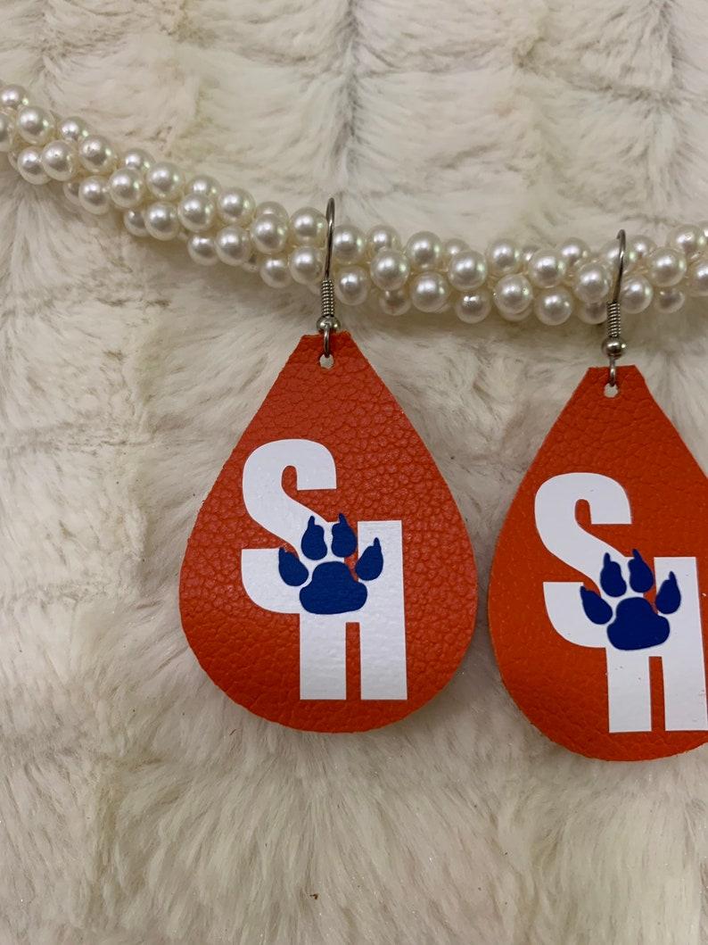 Sam Houston State Leather Chunky Teardrop Earrings