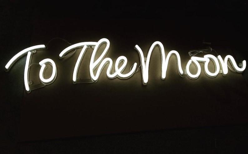 f032fd0365f9a To The Moon Neon Sign Light Home Decor Wedding Custom
