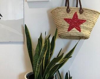 Red Sparkly Star Beach Bag