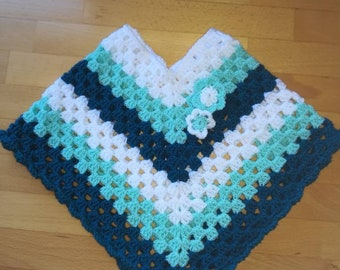 Current baby and toddler poncho in turquoise-white-mint for your little treasure or as a gift for birth