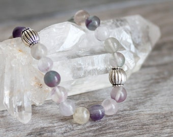Fluorite Stretchy Bracelet with Pewter Accents