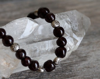 Garnet Stretchy Bracelet with Pewter Accents