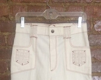 10b52b91a11 Cream vintage 70s bell bottoms with brown stitching. new w tags
