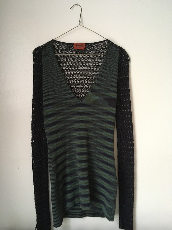 Missoni green and blue sweater w/ deep v, open kni