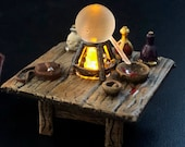 Alchemy / Alchemist table with Alembic and Flickering LED flame for Dungeons and Dragons D&D