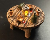Afterparty Table with Flickering LED light lantern - Dungeons and Dragons D&D