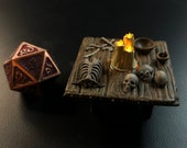 Skeleton Table with Flickering LED light candle - Dungeons and Dragons D&D