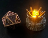 Tiny 28mm iron brazier with logs, Flickering LED light flame for Dungeons and Dragons D&D