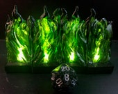Modular Wall of GREEN FLAME with flickering LED lights for Dungeons and Dragons D&D